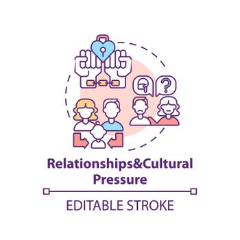Relationship and cultural pressure concept icon