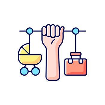 Combining motherhood and career RGB color icon