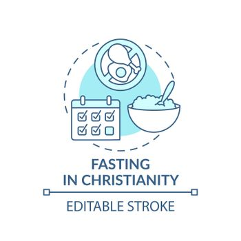 Fasting in Christianity turquoise concept icon