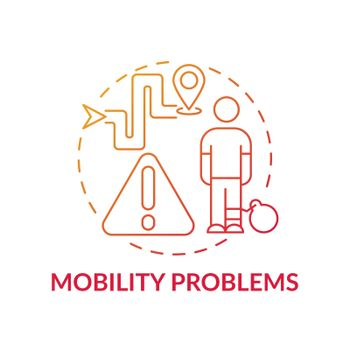 Mobility problems concept icon