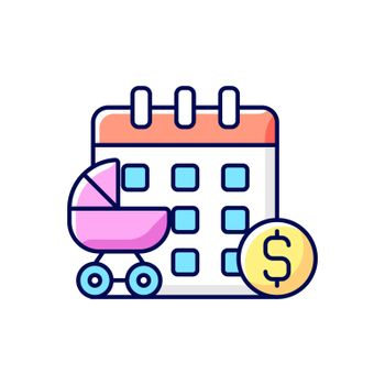 Paid maternity leave RGB color icon