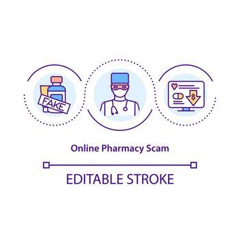 Online pharmacy scam concept icon