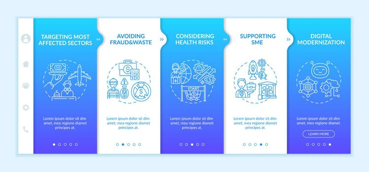 Financial support onboarding vector template
