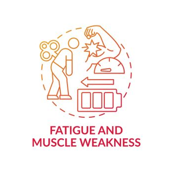Fatigue and muscle weakness concept icon