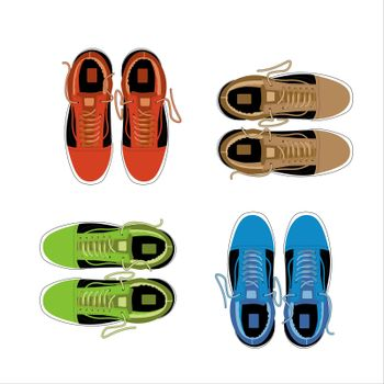 Set of sports and lifestyles shoes