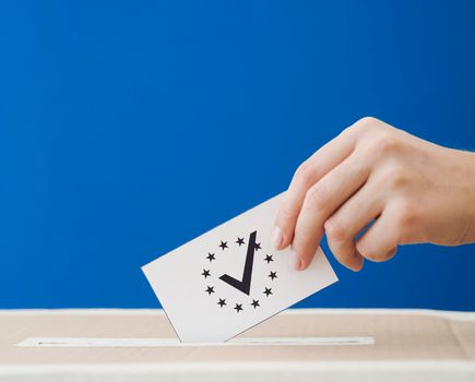 sideways woman being involved european election. High quality photo