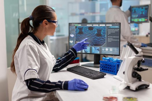 Chemical scientist conducting clinical virus research