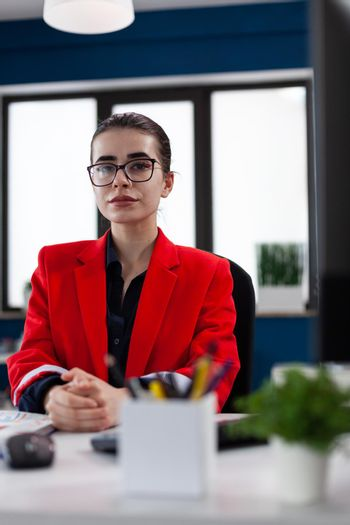 Successful businesswoman in corporate financial company office