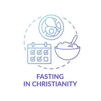 Fasting in Christianity blue gradient concept icon