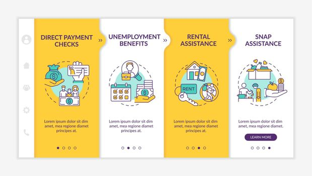 Enhanced unemployment benefits for jobless workers onboarding vector template