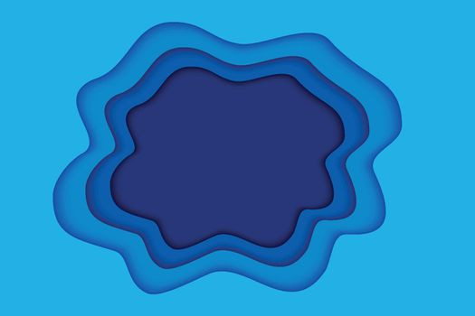 Blue paper layer abstract background. Paper cut layered with space for text.
