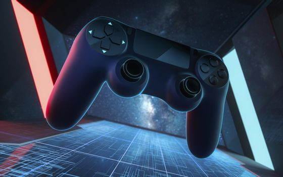 The gamepad in the tunnel, futuristic room, 3d rendering.
