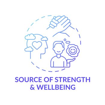 Source of strength and wellbeing blue gradient concept icon
