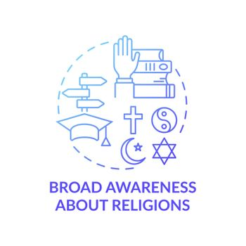 Broad awareness about religion blue gradient concept icon