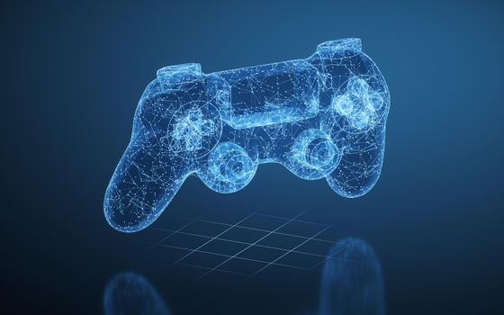 Gamepad and blue lines, 3d rendering.