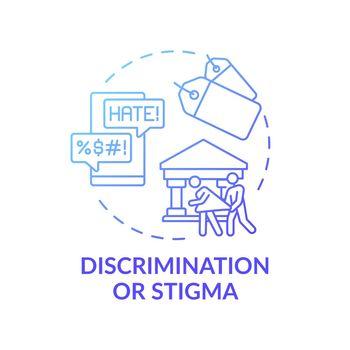 Discrimination or stigma blue gradient concept icon