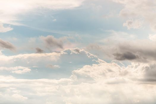 The cloudy beautiful sky with the light shining from the sun. The softness of the cloud creates a feeling of relaxation.