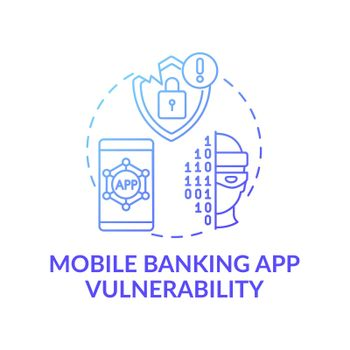 Mobile banking app vulnerability concept icon