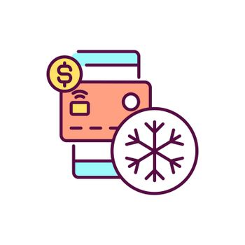 Freeze credit card RGB color icon