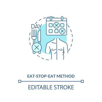Eat-stop-eat method blue concept icon
