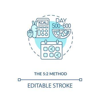 The 5-2 method blue concept icon