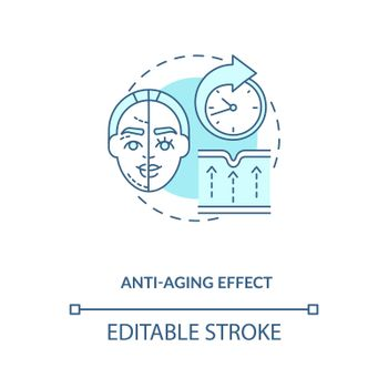 Anti aging effect blue concept icon
