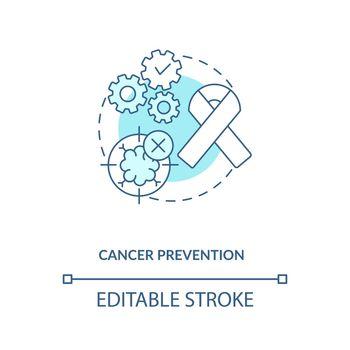 Cancer prevention blue concept icon