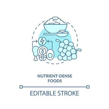 Nutrient dense foods blue concept icon