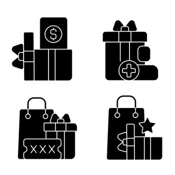 Purchase discounts and cashback black glyph icons set on white space