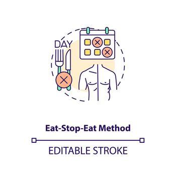 Eat-stop-eat method concept icon