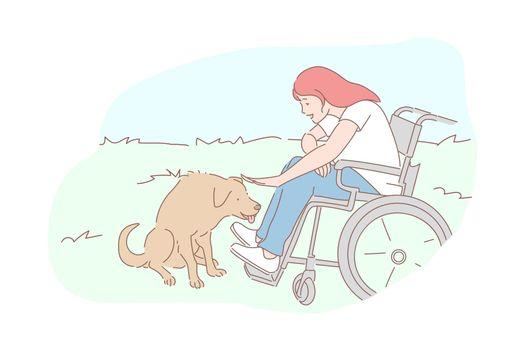Kindness, homeless animals care, sympathy concept