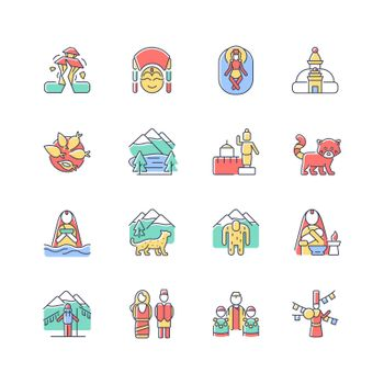Nepal cultural heritage RGB color icons set