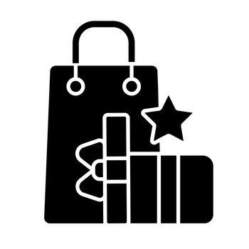 Earn reward points black glyph icon