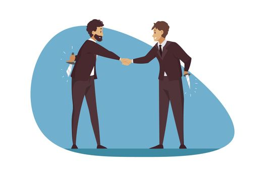 Betrayal, business, deal, greeting, competition concept