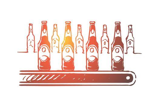 Alcohol factory, lager manufacturing process, bottling workshop, ale bottles with labels on conveyor line, finished product