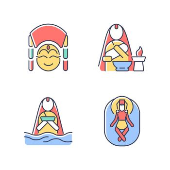 Nepal spiritual heritage RGB color icons set