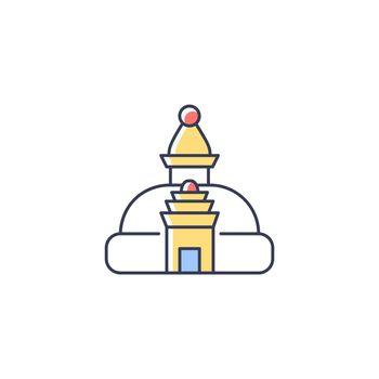 Swayambhu stupa RGB color icon