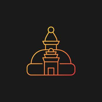 Swayambhu stupa gradient vector icon for dark theme