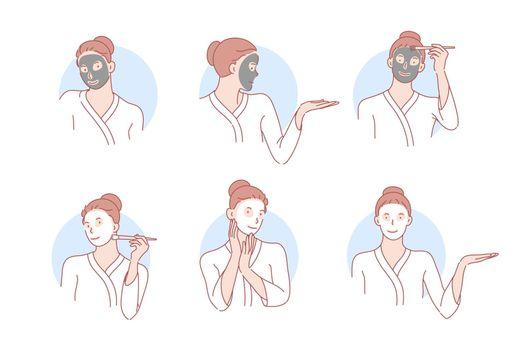 Beauty, skincare, mask, cosmetology set concept
