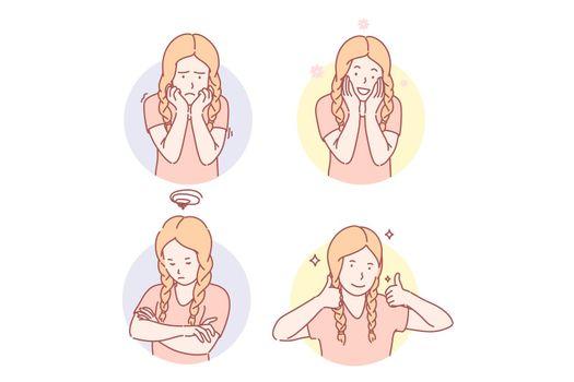 Girls emotional facial expressions set concept