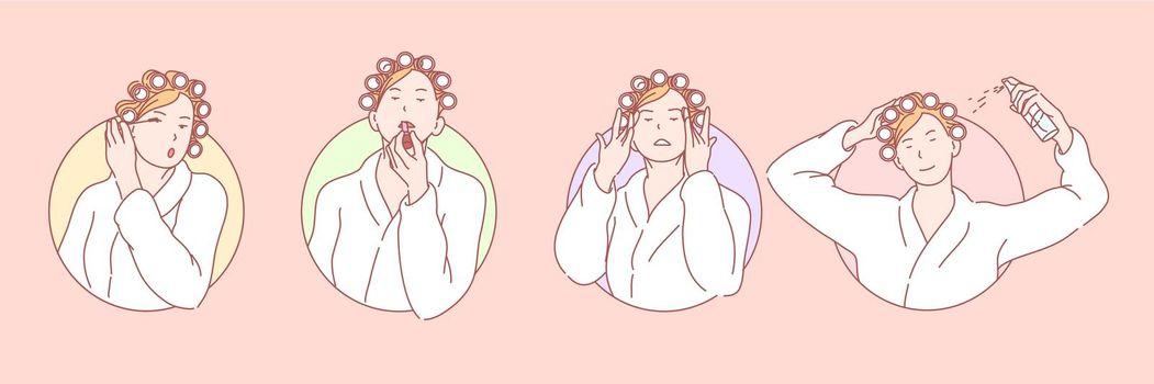 Makeup, beauty, cosmetology set concept