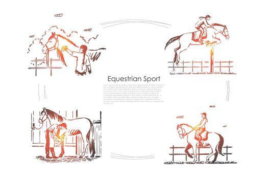 Hippodrome races, jockey on horseback, horseman in saddle, equine show, stallion in barn banner template