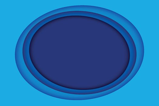 Blue paper layer abstract background. Paper cut layered circle with space for text.