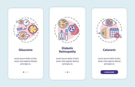 Adults eyes diseases onboarding mobile app page screen with concepts