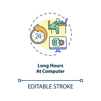 Long hours at computer concept icon