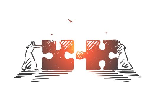 Business collaboration, cooperation concept sketch. Hand drawn isolated vector