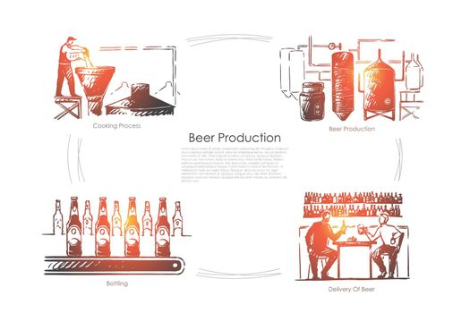Brewery, ale fermentation process, beverage bottling and delivery, brewer with yeast at alcohol factory banner