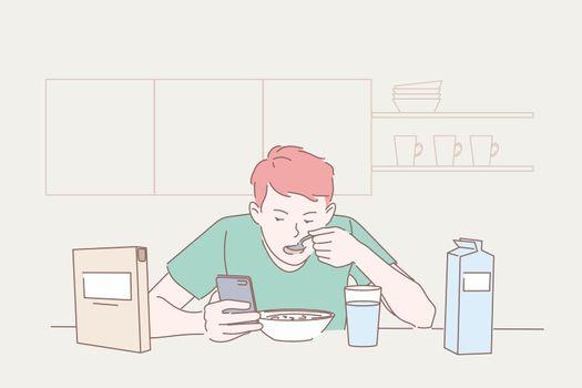 Food, Breakfast, gadget, social media concept.