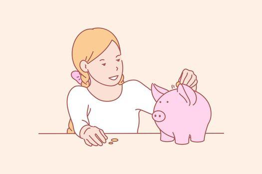 Money, savings, childhood, skill concept
