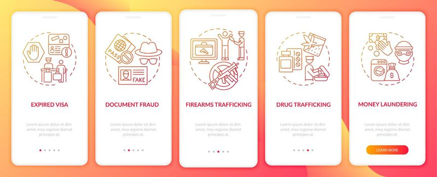 Reasons for deportation red onboarding mobile app page screen